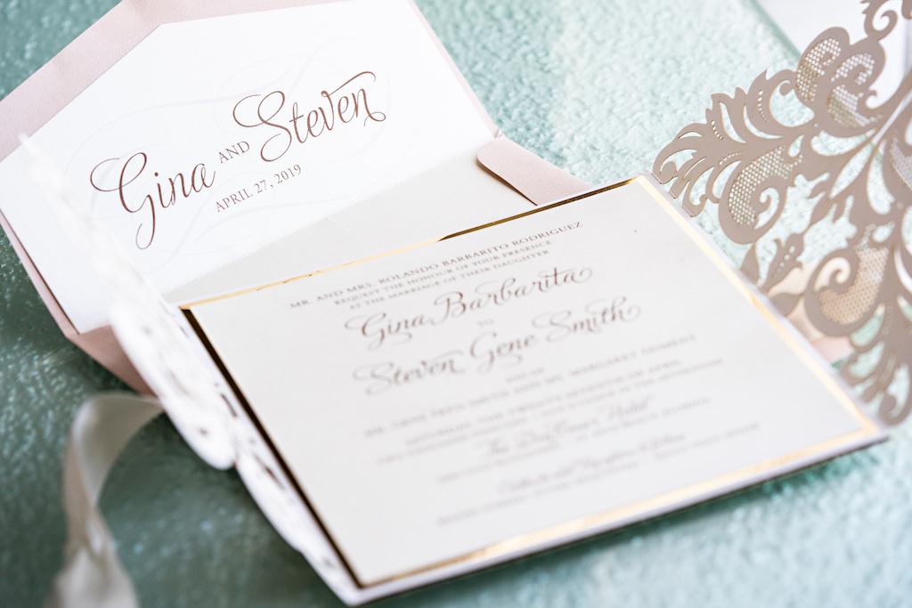 Elegant Romantic Blush and Gold Foil Wedding Invitation Suite