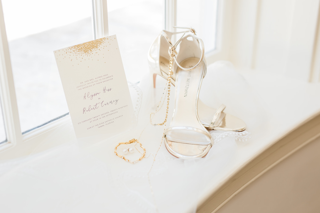 Ivory Strappy Sandal Wedding Heel Shoes, Modern Gold Foil Wedding Invitation and Bridal Accessories