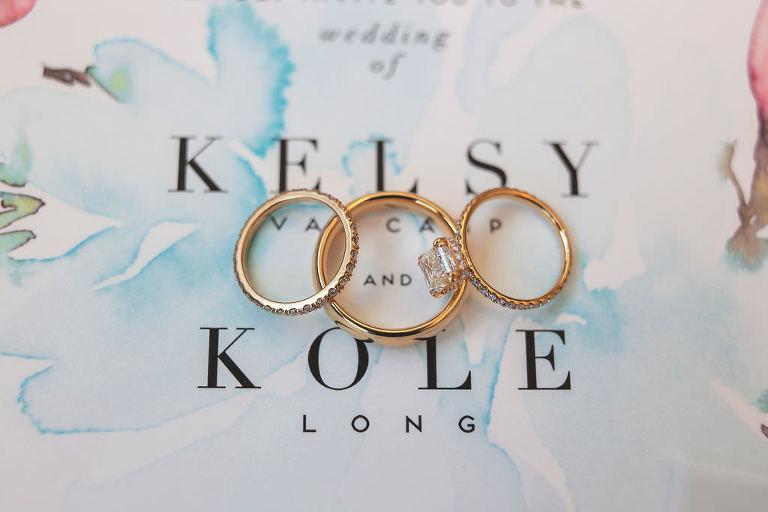 Yellow Gold Diamdon Engagement Ring and Wedding Band Set on Personalized Watercolor Wedding Invitation