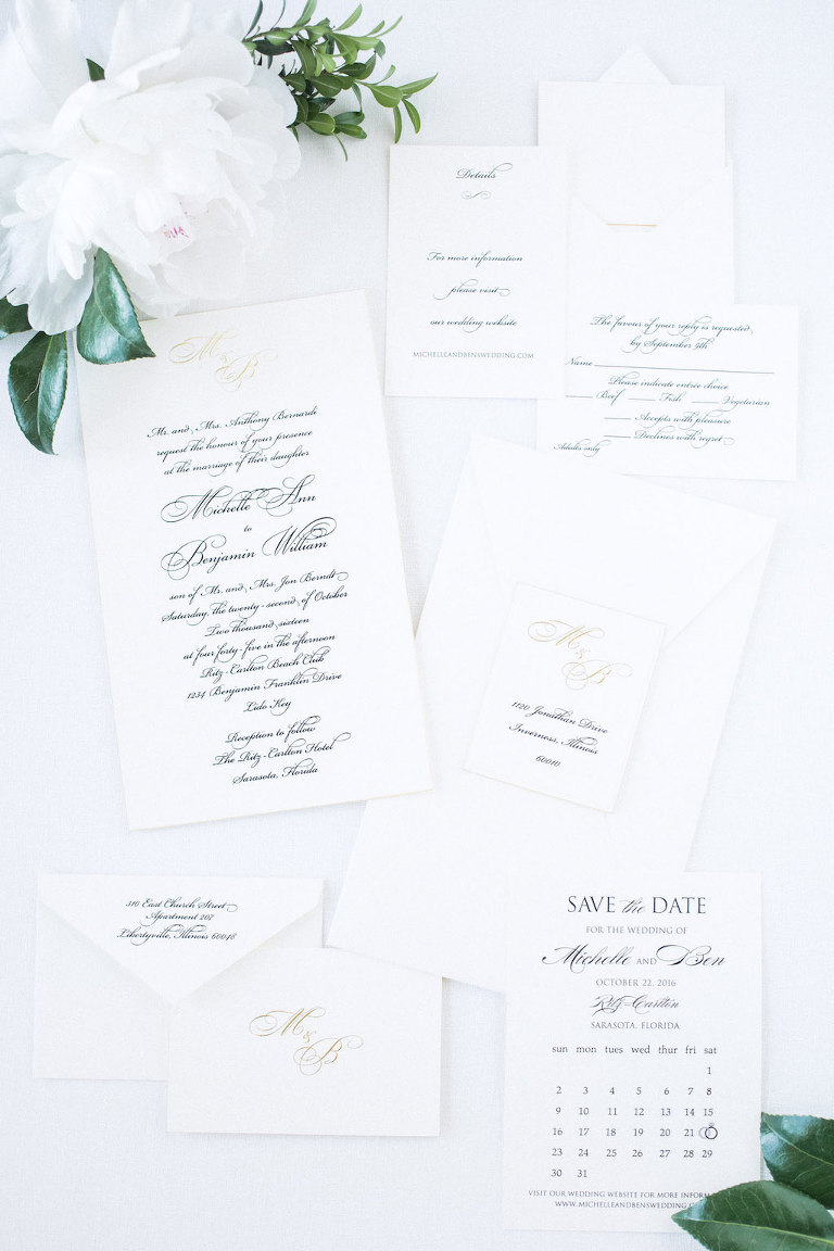 Classic Timeless Black and White Calligraphy Wedding Invitation