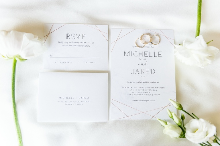 Geometric, Modern Gold and White Invitation Suite, RSVP Card, Gold Wedding Rings | Tampa Bay Wedding Photographer Andi Diamond Photography