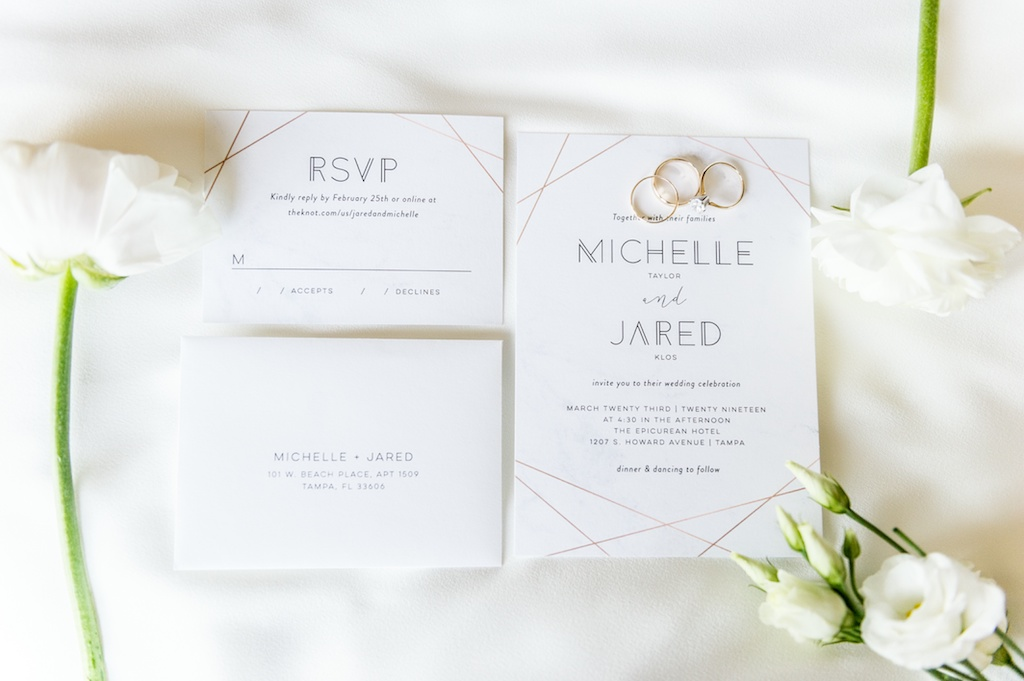 Geometric, Modern Gold and White Invitation Suite, RSVP Card, Gold Wedding Rings   Tampa Bay Wedding Photographer Andi Diamond Photography