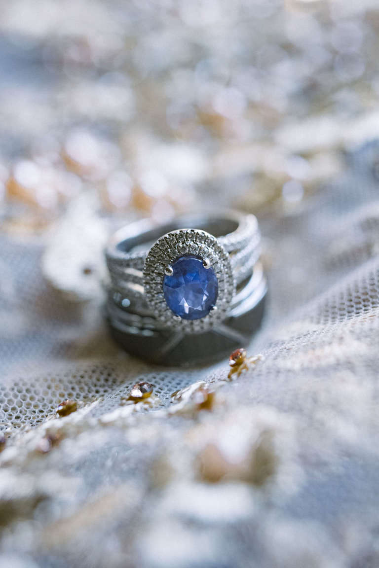 Bridal Engagement Wedding Ring, Oval Halo Ceylon Sapphire | Inspired by Princess Diana