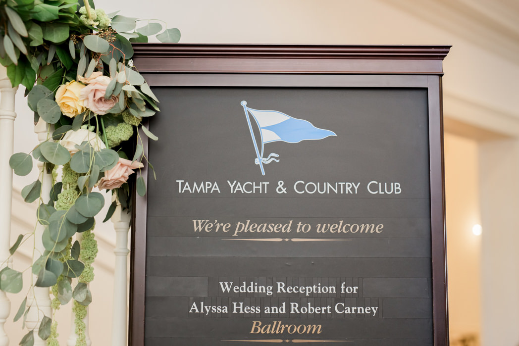 Wedding Welcome Sign at Waterfront Wedding Venue Tampa Yacht and Country Club
