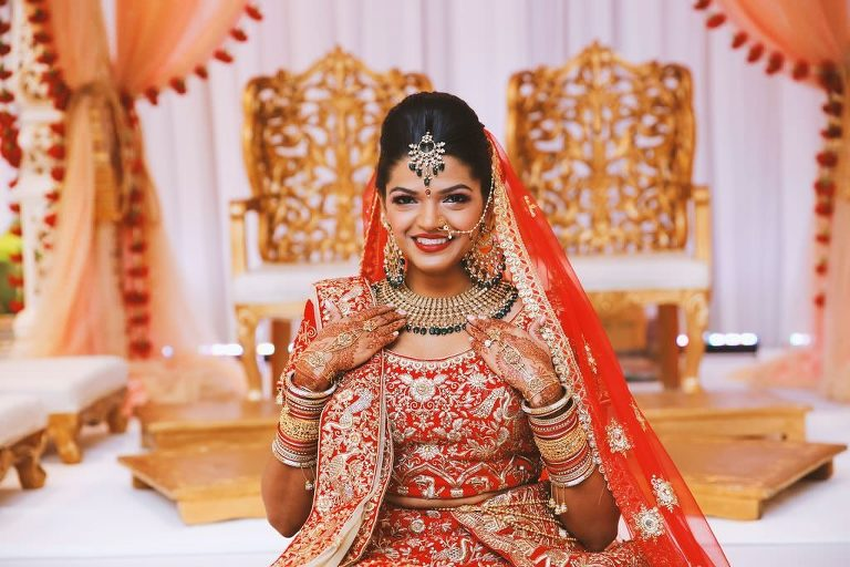 Traditional Elegant Indian Bride Beauty Wedding Portrait in Red and Gold Sari and Veil, Extravagant Jewelry and Henna Tattoo | Tampa Wedding Hair and Makeup Michele Renee the Studio
