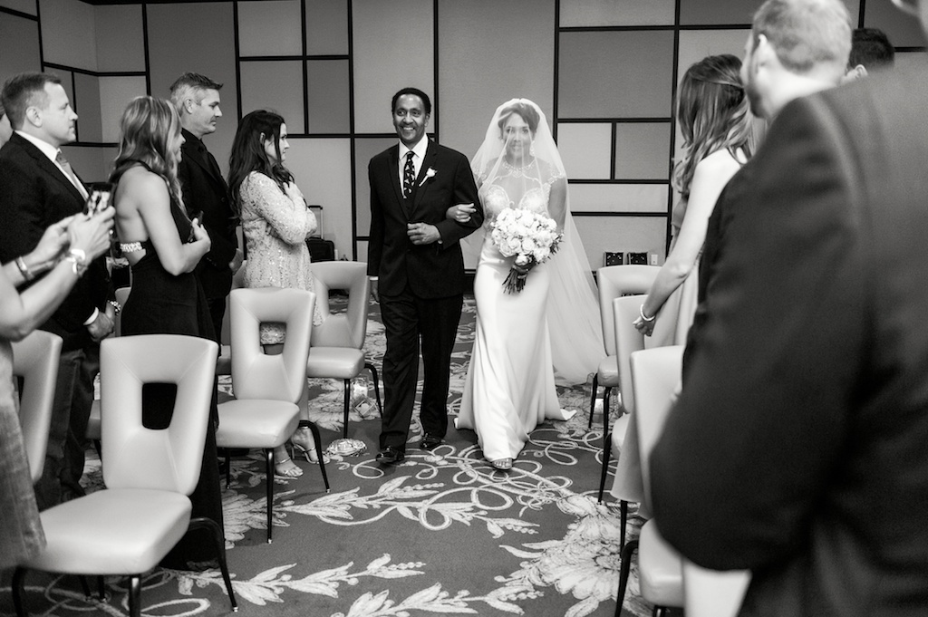 Florida Bride and Father, Walk Down the Aisle, During Ceremony Processional, inside Boutique Hotel Wedding Venue Epicurean Hotel in Historic Hyde Park, South Tampa   Tampa Bay Wedding Photographer Andi Diamond Photography