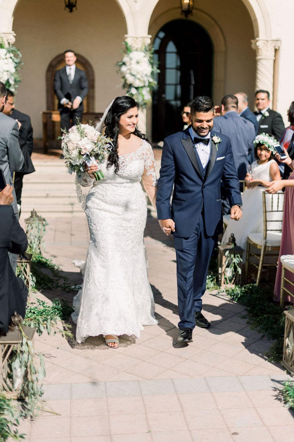 Indian Florida Bride and Groom Just Married, Wedding Processional, Elegant Outdoor Wedding Ceremony | Sarasota Wedding Planner Laura Detwiler Events