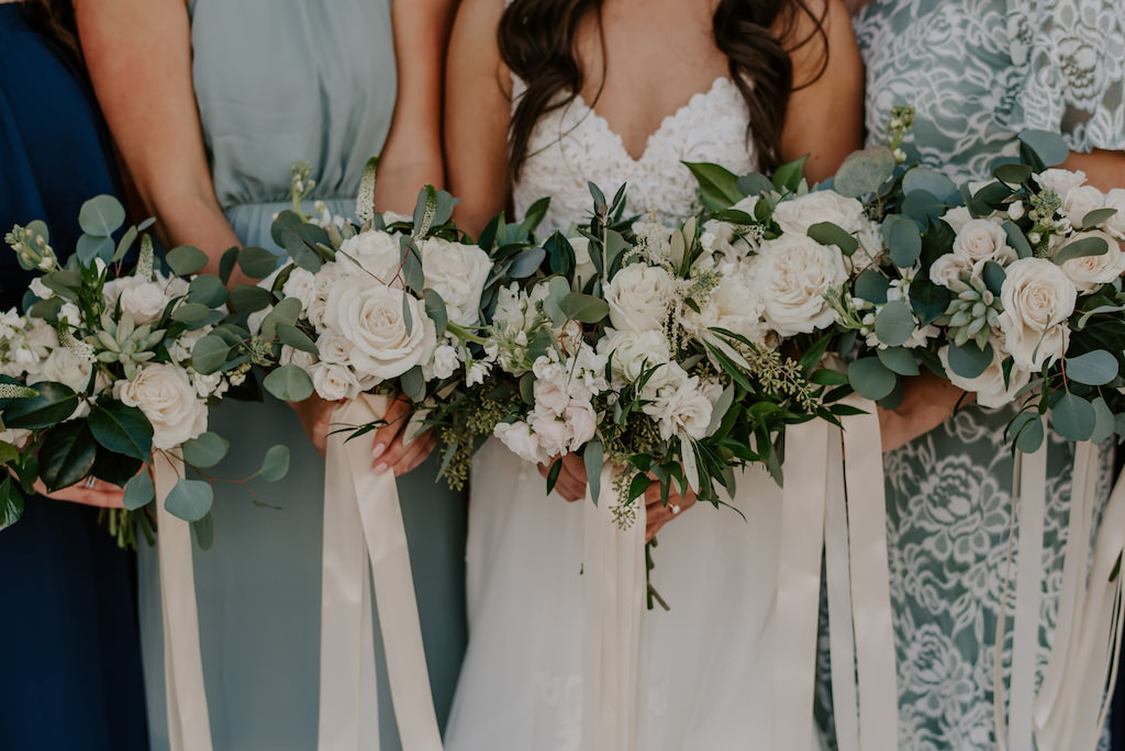 Bridesmaids and Bride Wedding Portrait Holding Modern, Clean Wedding Bouquets, White, Ivory Roses, Mix and Match Florals, Greenery Floral Bouquets and Ribbon