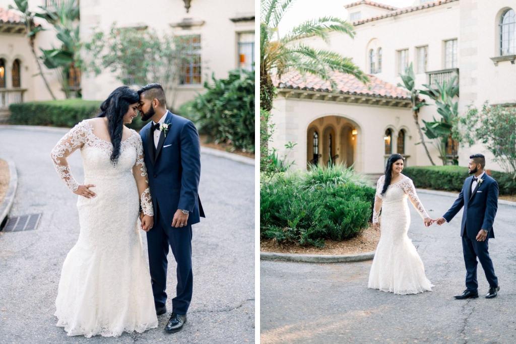 Indian Sarasota Bride and Groom Intimate Wedding Portrait, Outside Powel Crosley Estate in Florida