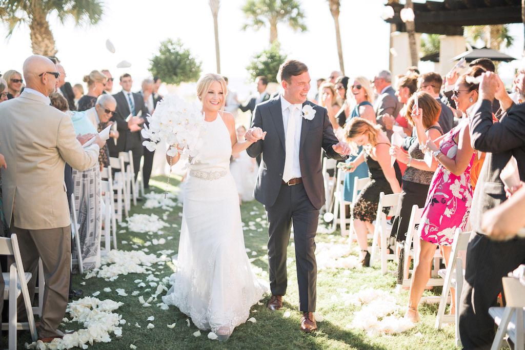 Florida Bride and Groom Just Married, Garden Wedding Ceremony, The Ritz Carlton Sarasota   Sarasota Wedding Planner NK Weddings