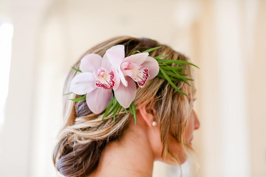 Pink Plumeria Floral Hair Accessory   Tampa Bay Wedding Photographer Lifelong Photography Studios