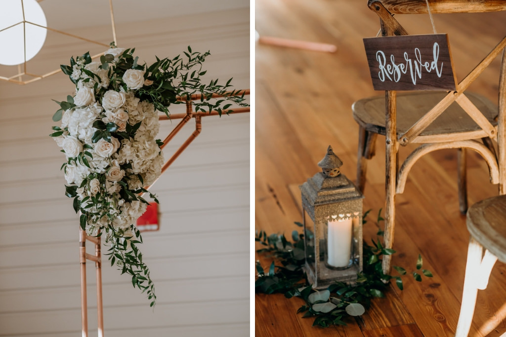 Modern, Romantic, Geometric Inspired Wedding Ceremony Decor, White, Blush Pink Floral Arrangement with Greenery On Ceremony Arch, Lanterns with Eucalyptus Leaf Accent