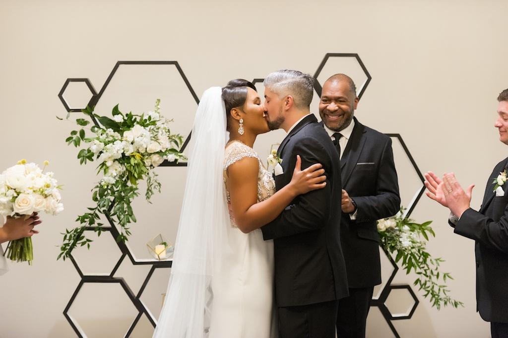 Florida Bride and Groom Kiss During Wedding Ceremony   Tampa Bay Wedding Photographer Andi Diamond Photography