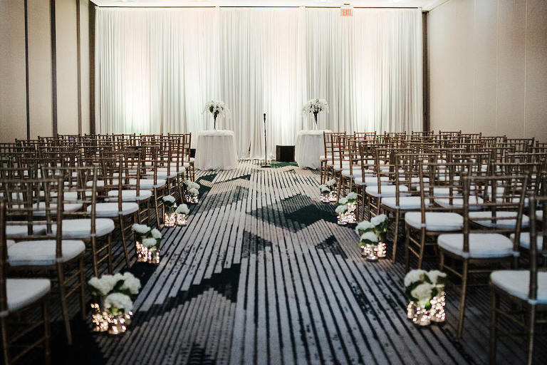 Modern, Traditional Wedding Ceremony with White Decor, Gold Chiavari Chairs, White Draping | Rentals A Chair Affair | Gabro Event Services | Tampa Bay Boutique Hotel and Wedding Venue The Hotel Alba in Westshore