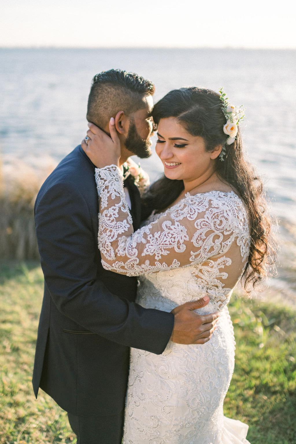 Indian Sarasota Bride and Groom Waterfront Wedding Portrait