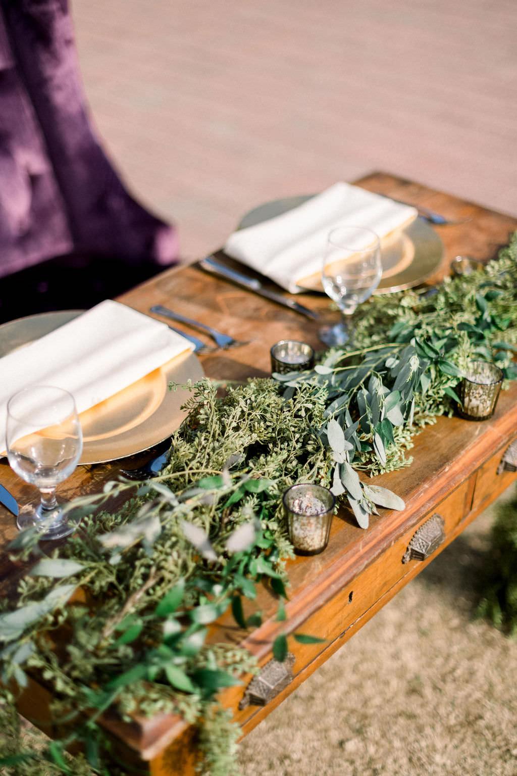 Elegant, Vintage Inspired Wedding Decor, Wooden Desk Sweetheart Table, With Greenery Garland | Sarasota Wedding Planner Laura Detwiler Events