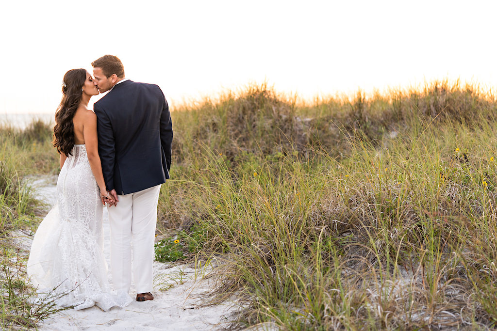 Florida Bride and Groom Intimate Wedding Portrait on Sand of St. Pete Beach Historic Don Cesar Hotel