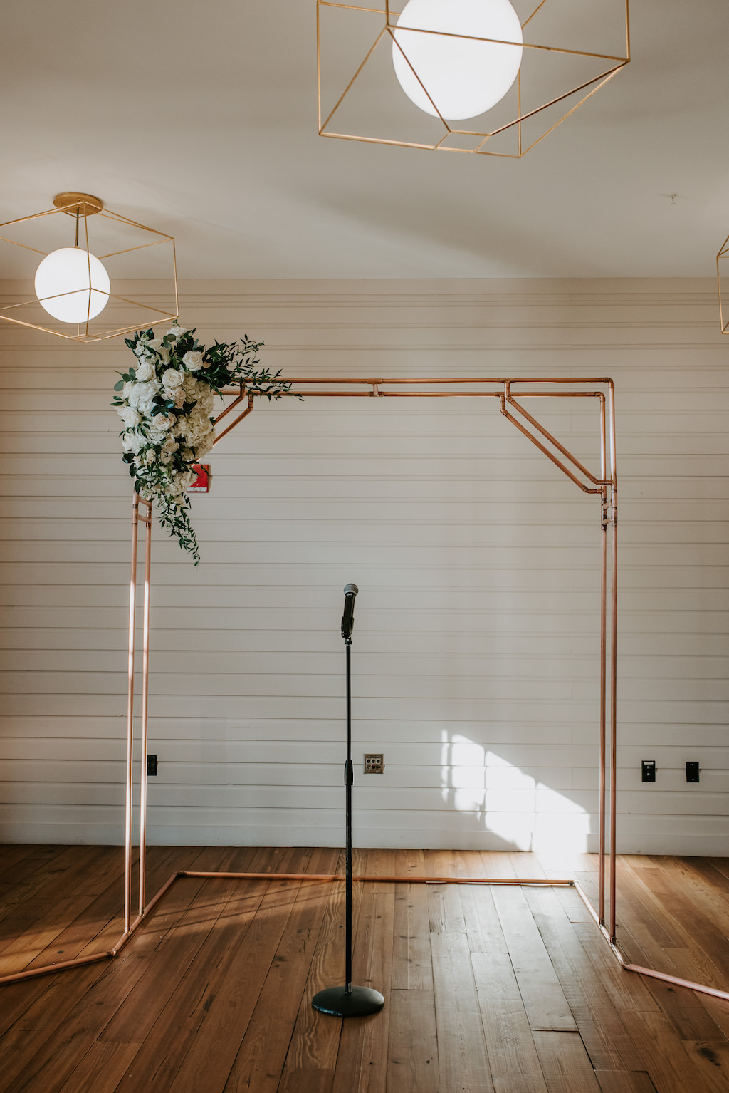 Modern, Romantic, Geometric Inspired Wedding Ceremony Decor, Gold Rectangle Ceremony Arch, White, Blush Pink Floral Arrangement with Greenery On Ceremony Arch   Tampa Bay Venue The Gathering at Armature Works
