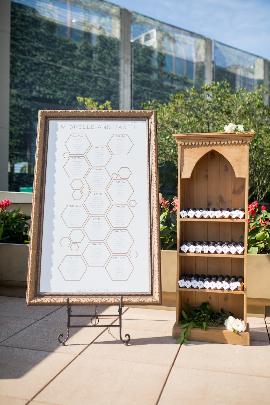 Modern, Geometric Black, White, and Gold, Bumble Bee Honey Inspired, Wedding Decor and Seating Chart, Honey Jar Guest Favor, Historic Hyde Park Wedding Venue Epicurean Hotel in South Tampa   Tampa Bay Wedding Photographer Andi Diamond Photography