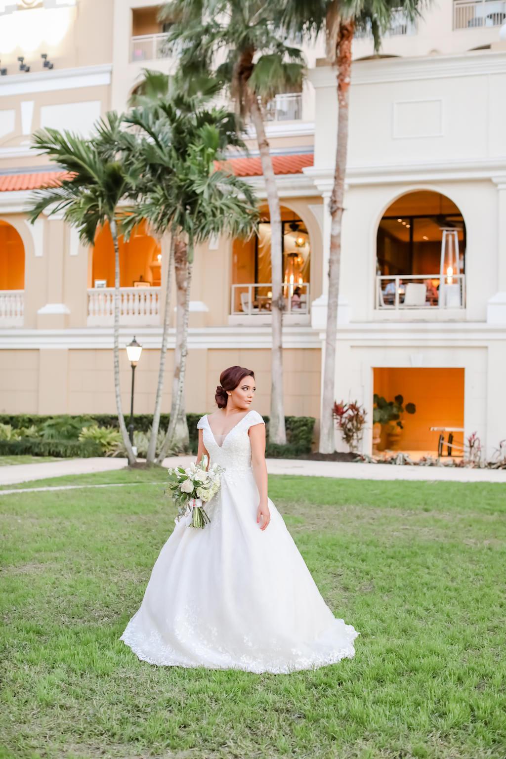 Elegant Cap Sleeve, Low Cut Neckline, White Ball Gown Style Wedding Dress   Truly Forever Bridal   The Ritz Carlton Sarasota   Tampa Bay Wedding Photographer Lifelong Photography Studios