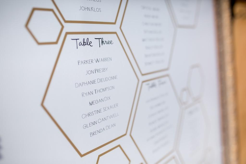 Modern, Geometric Black, White, and Gold, Bumble Bee Honey Hexogram Inspired, Wedding Decor and Seating Chart   Tampa Bay Wedding Photographer Andi Diamond Photography