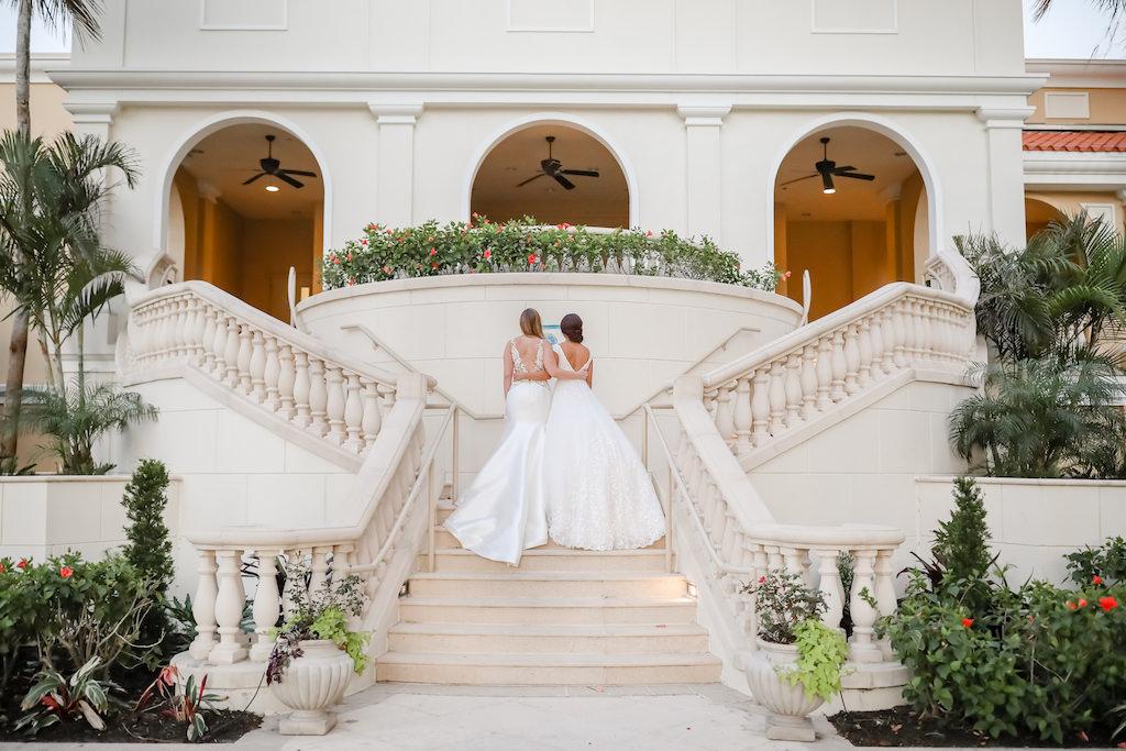 Two Brides with Modern White Wedding Dresses   Bridal Shop Truly Forever Sarasota   The Ritz Carlton Sarasota   Tampa Bay Wedding Photographer Lifelong Photography Studios