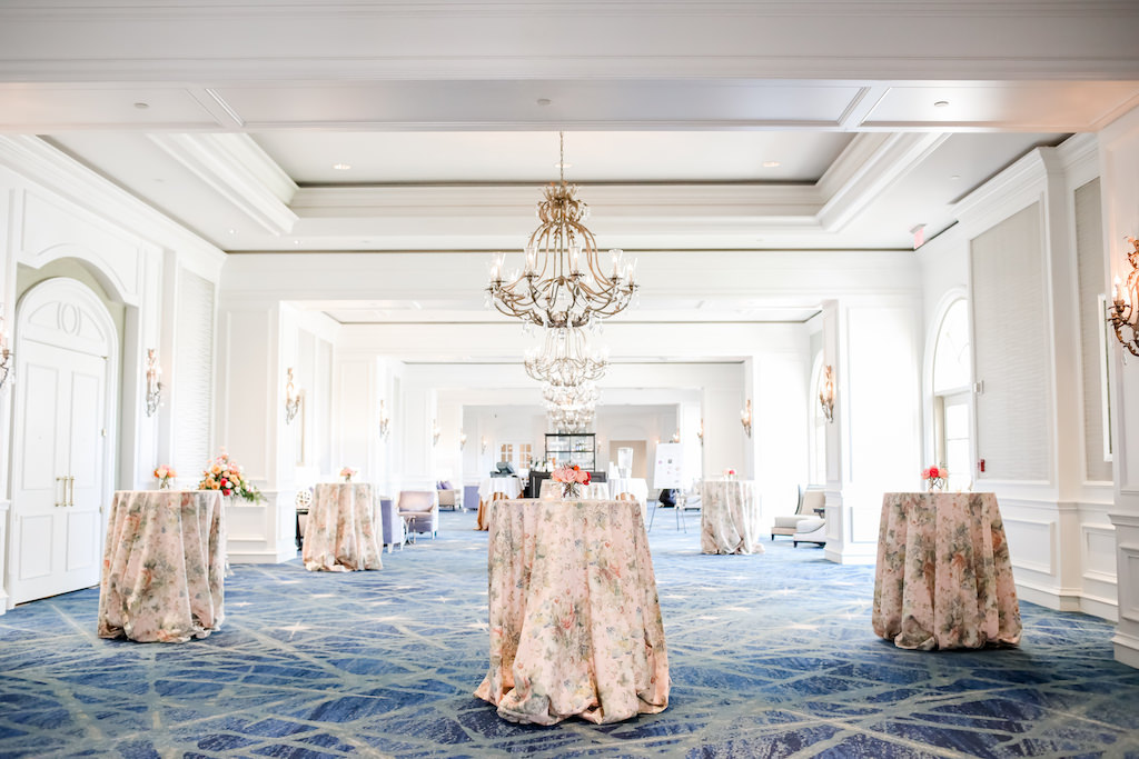 Chic Garden Inspired Wedding Decor, Pink Floral Table Linens, Ballroom of The Ritz Carlton Sarasota   Over the Top Rental Linens