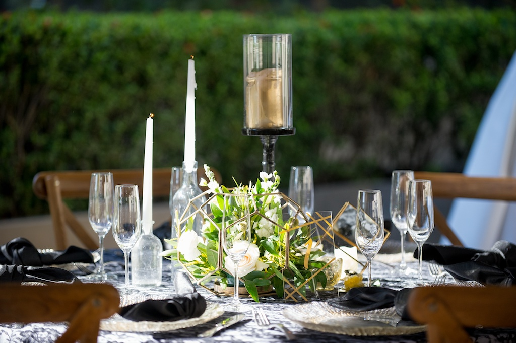 Modern, Geometric Bumble Bee Honey Hexagon Inspired Wedding Decor, Low Floral Centerpiece, White Flowers and Greenery, Gold Candle on Tall Black Candlestick   Historic Hyde Park Wedding Venue Epicurean Hotel in South Tampa   Tampa Bay Wedding Photographer Andi Diamond Photography