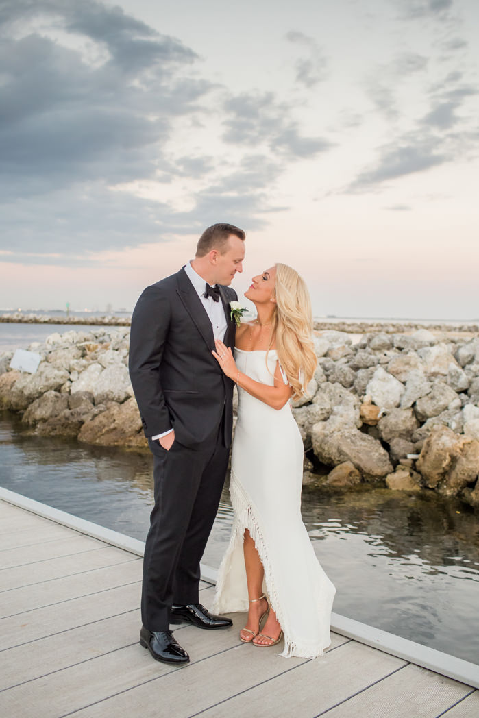 Tampa Bay Florida Bride and Groom Sunset Waterfront Wedding Portrait on Boat Dock