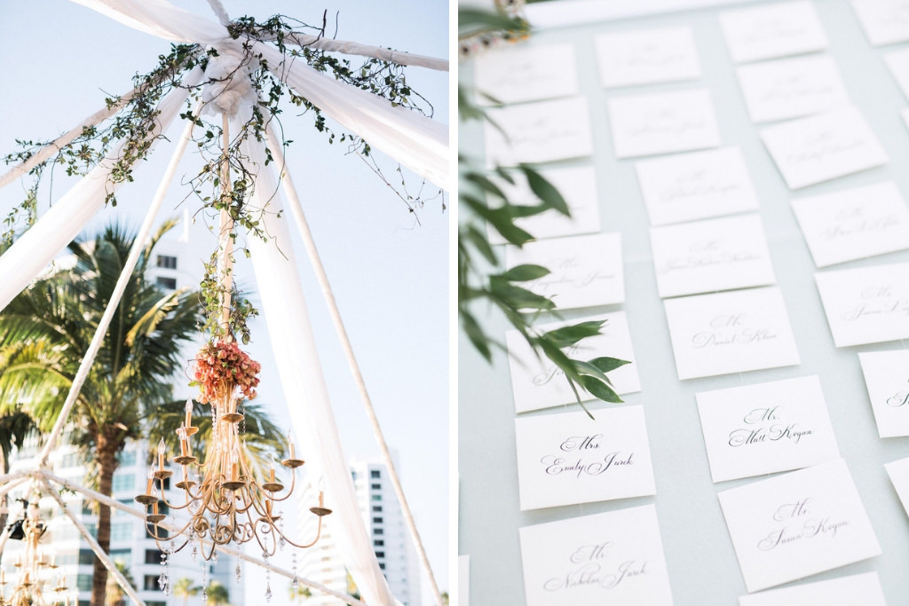Elegant, Garden Inspired Wedding Decor, Outdoor Gold Chandelier Hanging from Green Vines, Calligraphy Place Cards   Sarasota Wedding Planner NK Weddings