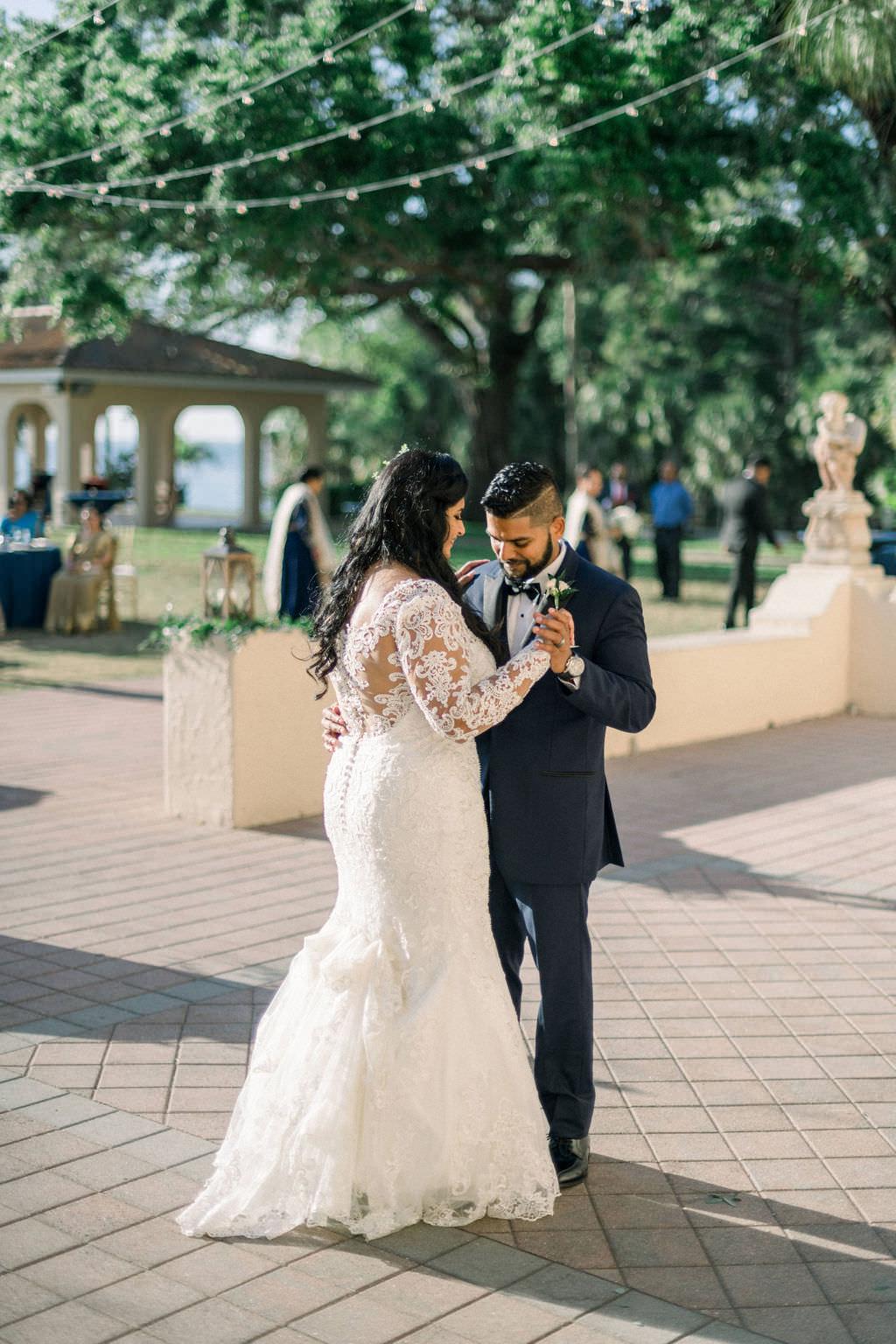 Indian Florida Bride and Groom First Dance at Outdoor Reception, Powel Crosley Estate in Sarasota