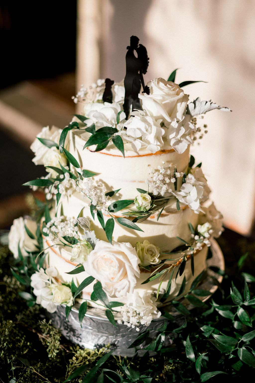Outdoor, Boho Inspired Semi Naked Wedding Cake, White Frosting, Ivory Florals, Blush Pink Roses, Greenery,