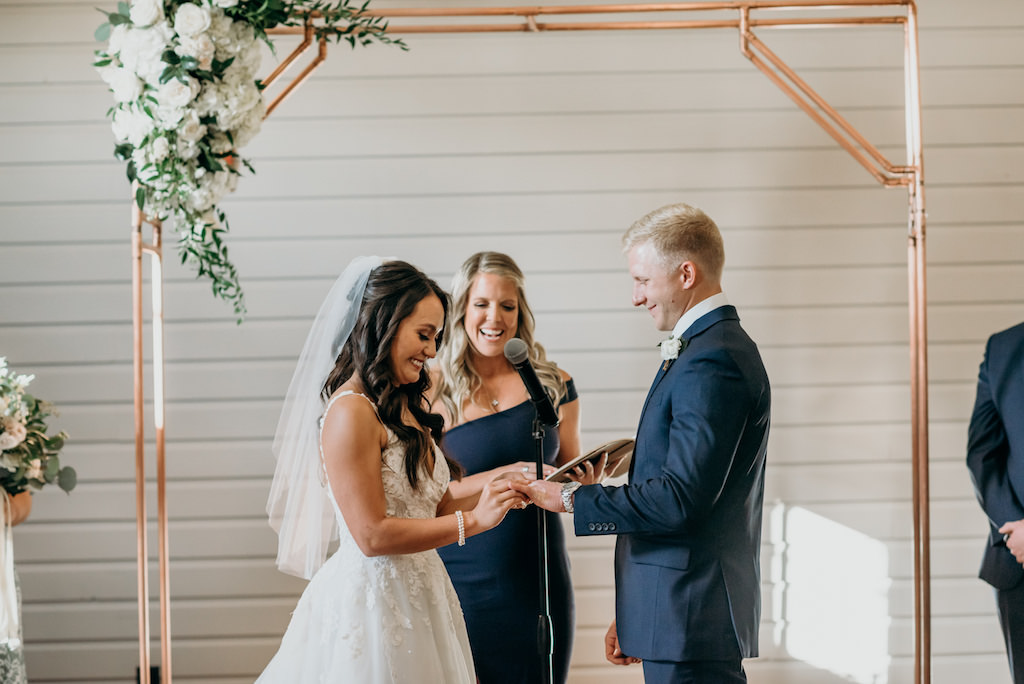 Florida Bride and Groom Exchange Rings and Vows, Wedding Ceremony at The Gathering, Tampa Bay's Armature Works