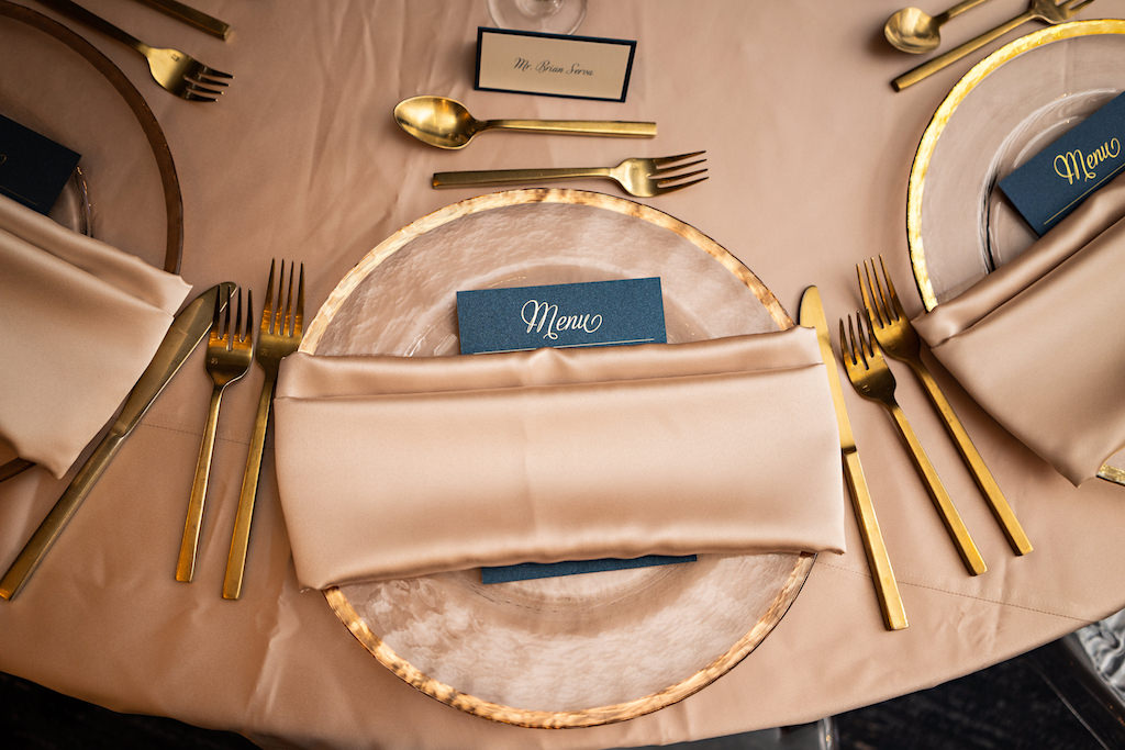 Romantic Blush Pink Table Setting and Wedding Decor, With Pink and Gold Enamel Chargers, Pink Linens, Gold Flatware   Florida Wedding Planner Parties A La Carte   Tampa Bay Over The Top Rentals