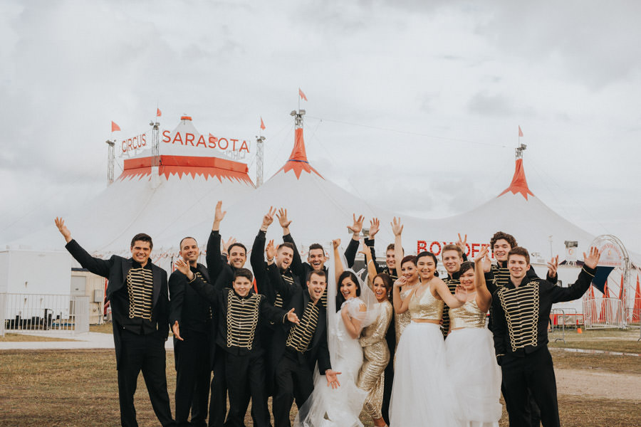 Glamorous, Circus Inspired Wedding Party, Unique Venue Circus Sarasota under the Big Top, The Ringling