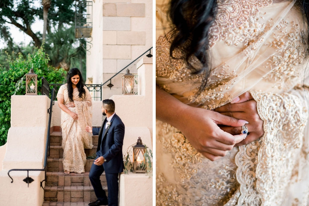 Indian Florida Bride and Groom, Indian Wedding, Gold Detailed Sara, Blue Ceylon Sapphire Engagement Ring | Sarasota Wedding Planner Laura Detwiler Events