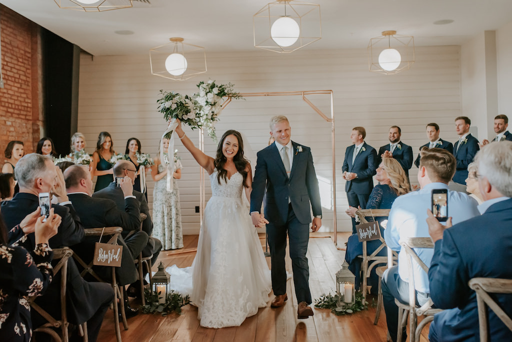 Modern, Geometric Wedding Decor, Florida Bride and Groom Just Married Wedding Ceremony Portrait, White and Blush Pink Floral Bouquet with Greenery, Indoor Ceremony at Armature Works Venue The Gathering