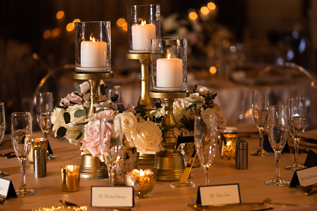 Romantic Garden Inspired Wedding Decor, Low Floral Centerpieces with White and Blush Pink Roses, Gold Candelabras with Glass Votives   Over The Top Rentals   Tampa Bay Florist Bruce Wayne Florals   Florida Wedding Planner Parties A La Carte