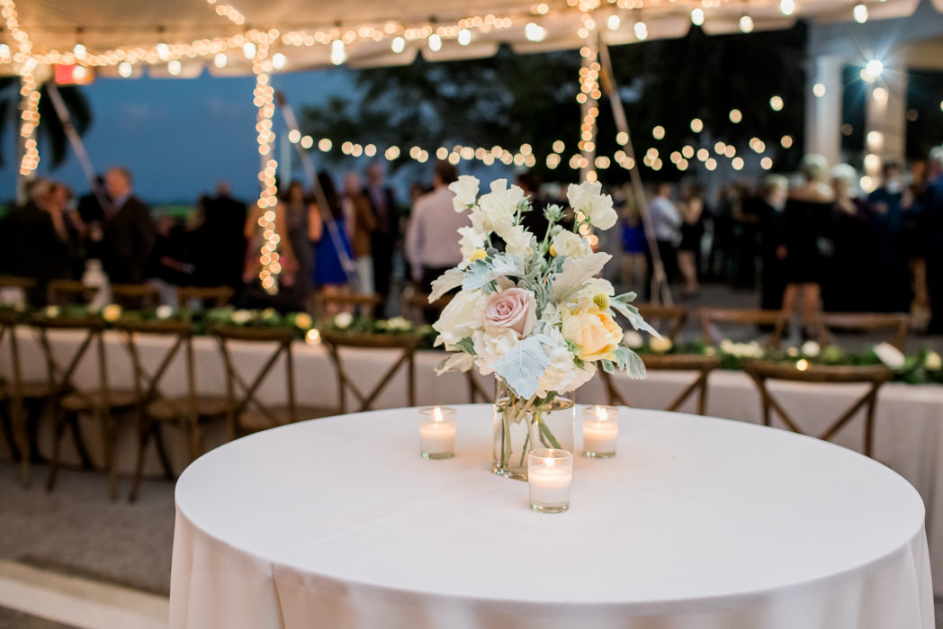 Boho Modern Chic Inspired Wedding Reception Decor, Tall Cocktail Table with Small Organic White, Ivory, Yellow, Dusty Rose Florals and Dusty Miller Leaves