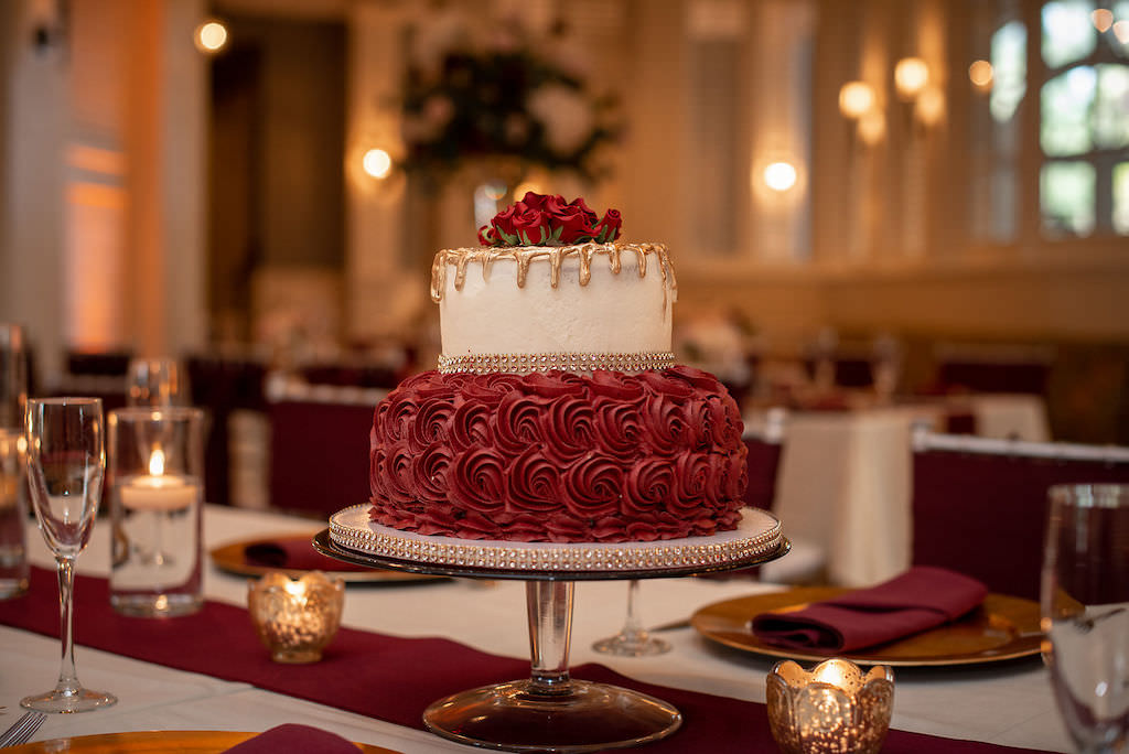 FSU Inspired Two Tier Wedding Cake, With Burgundy Floral