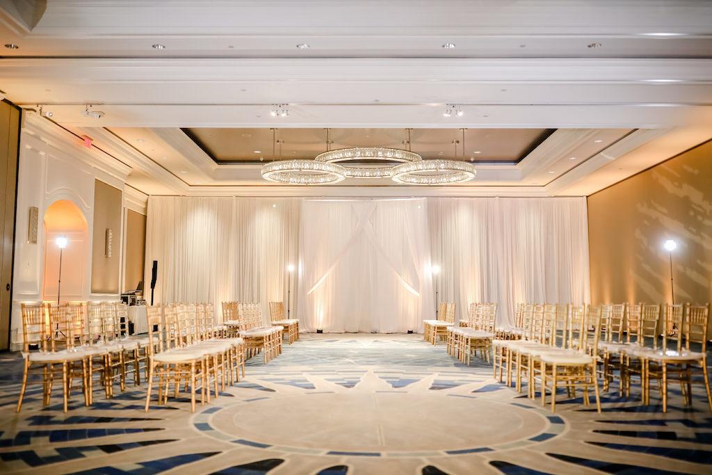 Gold Chiavari Chairs, Grand Ballroom, The Ritz Carlton Sarasota, Bridal Fashion Show | Draping Gabro Event Services | Lighting Spark Weddings