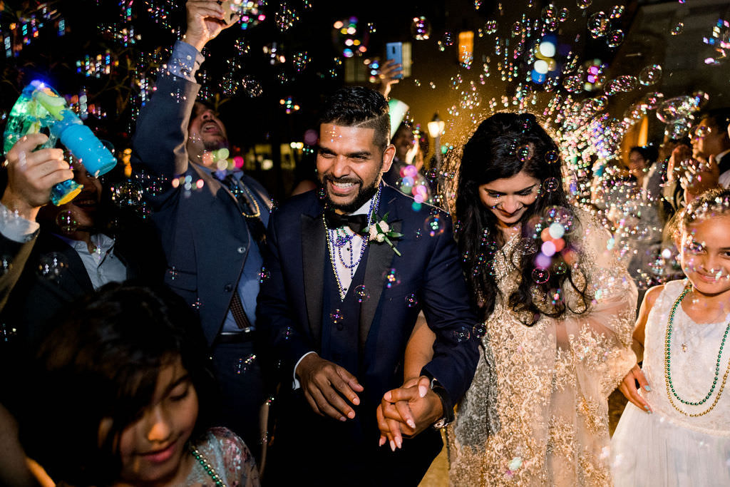 Indian Sarasota Bride and Groom, Nighttime Bubble Wedding Exit,