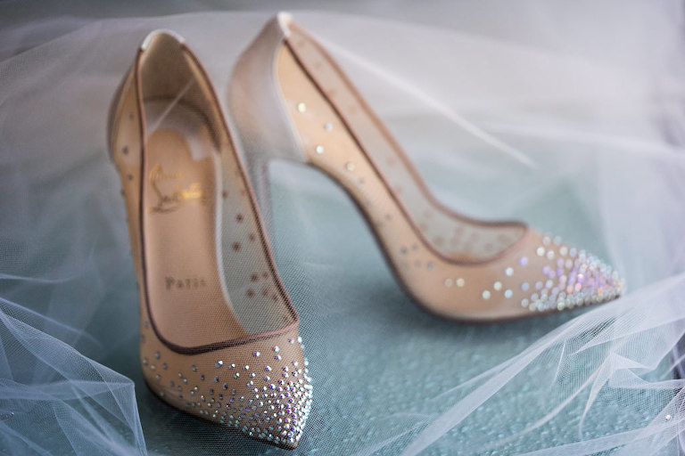 Nude Sheer High Heel Christian Louboutin Wedding Shoe with Rhinestone Embellishment