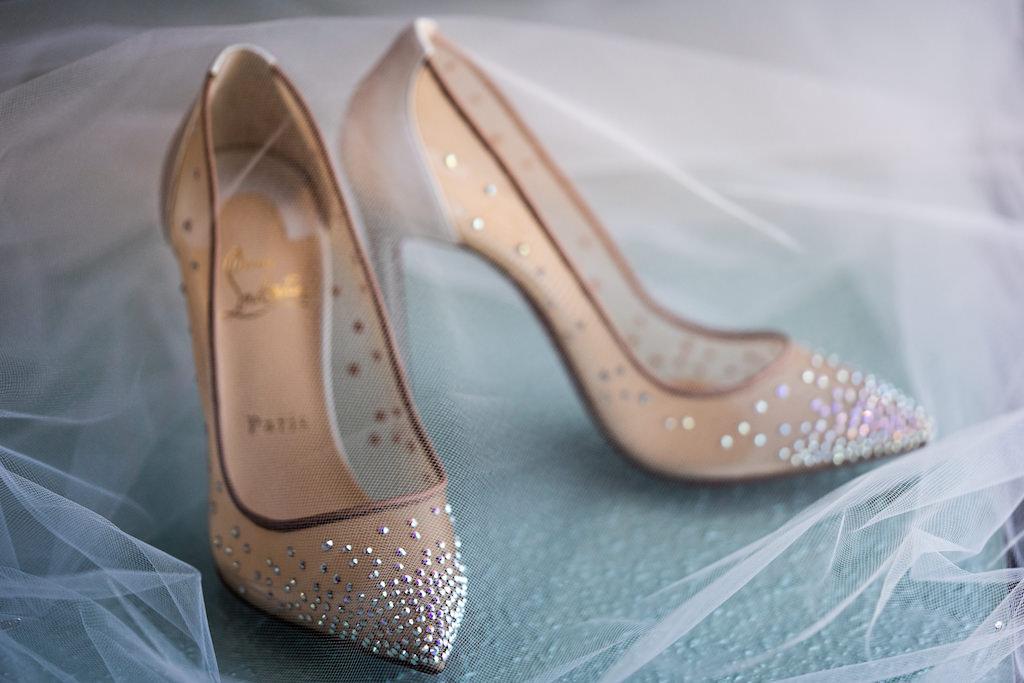 Nude Sheer High Heel Christian Louboutin Wedding Shoe with Rhinestone Embellishment