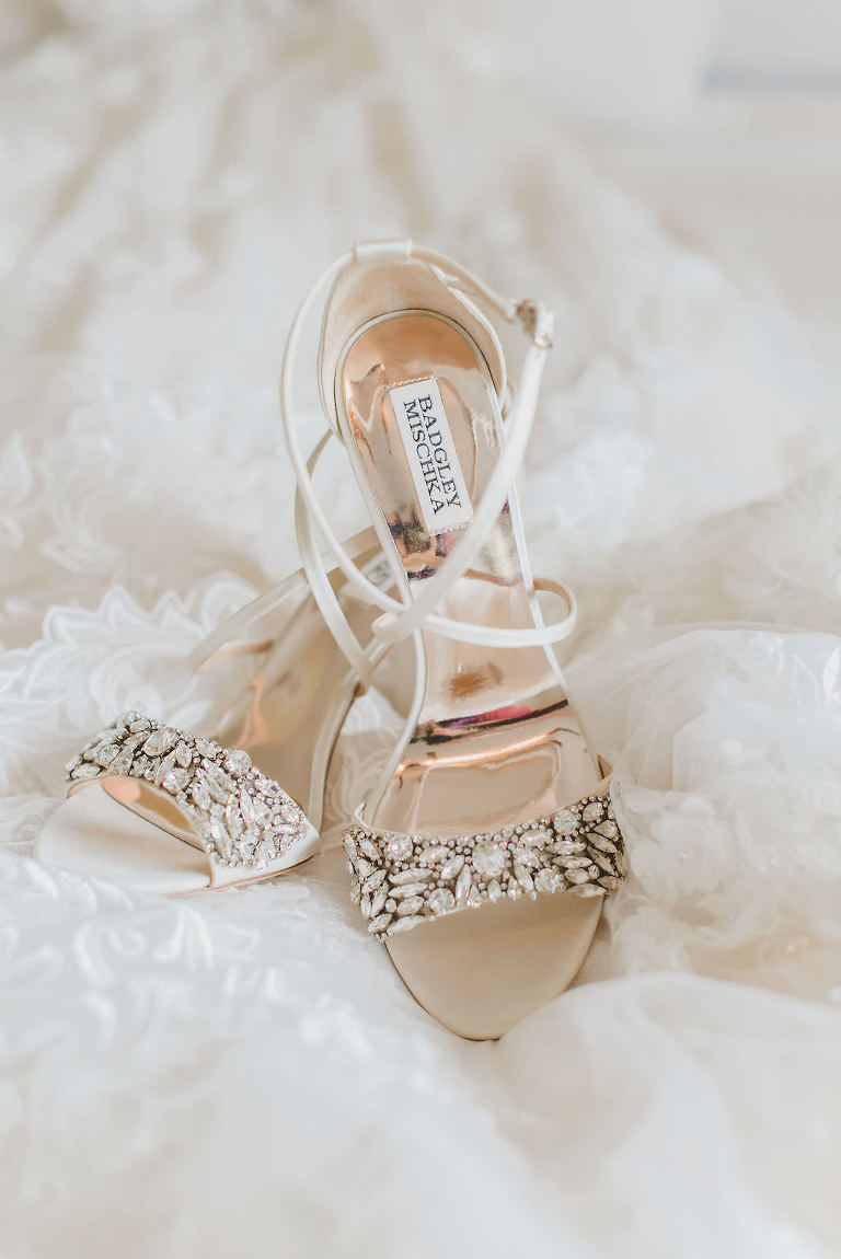 Badgley Mischka White Open Toe Rhinestone Embellished High Heel Wedding Shoe