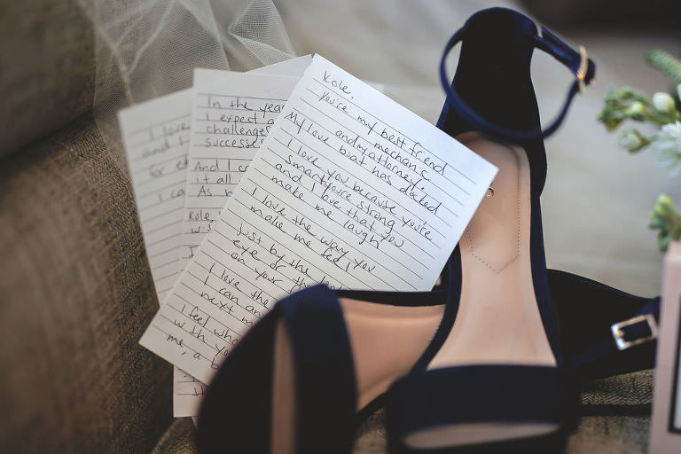 Handwritten Wedding Vows with Dark Blue Suede Bridal Shoes