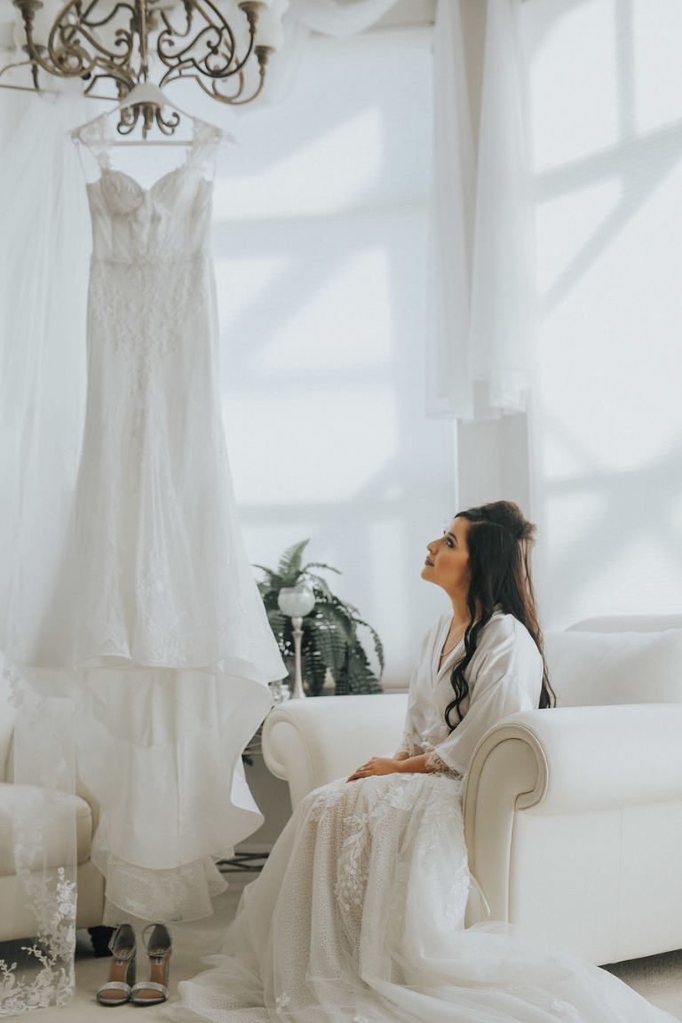 White, Lace Isabella Talya Wedding Dress, Sarasota Bridal Portrait
