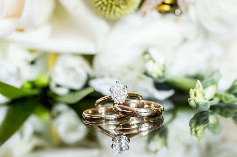 Solitaire Diamond Engagement Ring, Gold Wedding Bands | Tampa Bay Wedding Photographer Andi Diamond Photography
