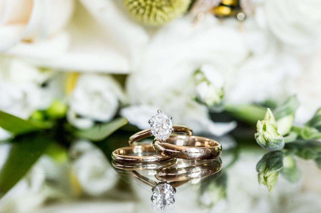 Solitaire Diamond Engagement Ring, Gold Wedding Bands   Tampa Bay Wedding Photographer Andi Diamond Photography