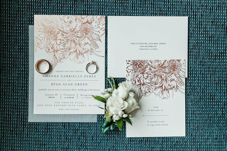 Classic, Elegant Gold Foil Floral Design Wedding Invitation Suite, Wedding Ring Set